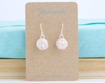 Ball of Yarn Earrings in Sterling Silver For Knitter