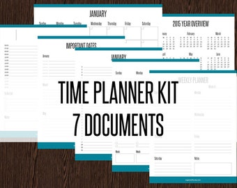 Time Planner Kit - Fillable - Appointment Planners, Calendars, Monthly- Weekly- Daily Planners - Printable PDF - Instant Download