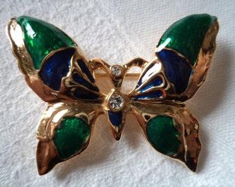 Fabulous Unsigned Vintage Enamel Gold/Green/Purple Butterfly Brooch/Pin