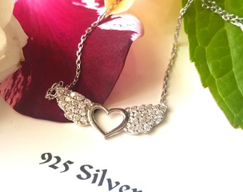 Heart Angel Necklace 925 Sterling Silver Necklace Heart Angel  pendant Cubic Zirconia necklace Dainty Cz Jewellery silver heart Gift for her
