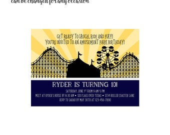 Roller Coaster Invitation 4x6 or 5x7 digital you print your own- Design 257
