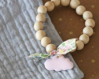 Bracelet child cloud pink wood beads and Liberty
