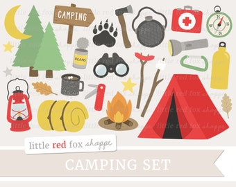 Camping Clipart, Tent Clip Art, Campfire Clipart, Lantern Clipart, Sleeping Bag Clipart, Cute Digital Graphic Design Small Commercial Use