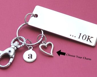 Personalized Running Key Chain 10K Stainless Steel Customized with Your Charm & Initial -K6