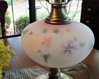 Vintage Fenton Hand Painted Satin Glass Table Lamp on Antique Brass Base - Mother's Day Gift