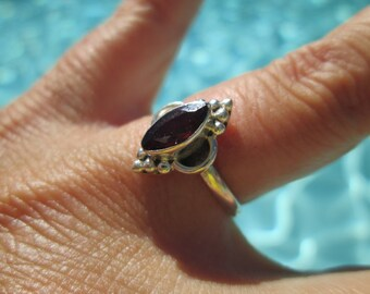 Ornate Garnet and Sterling Ring Size 6