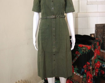 Vintage 70s 80s Safari Military Button Dress