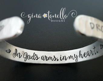 Memorial Bracelet, In Memory of Bracelet, Memorial Jewelry, Infant Loss, Loss of Child, Loss of Loved One, In Loving Memory, Cuff