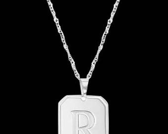 Custom Letter Necklace - Personalized Letter Necklace - Engraved Necklace - Silver Letter Necklace - Personalized Jewelry - Personalize Gift