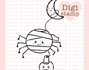 Mummy Spider Digital Stamp - Halloween digi - Spider digital art for - Card Making - Paper Crafts - Scrapbooking - Stickers - Coloring Pages