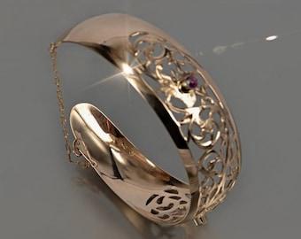 Russian rose Soviet vintage gold USSR bracelet vb001