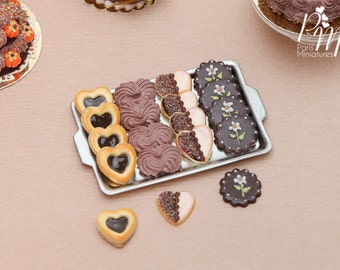 MTO -Chocolate Treats (Cookies, Meringues...) on Metal Baking Sheet - 4 Varieties, 3 Loose - Tiny Miniature Food in 12th Scale for Dollhouse