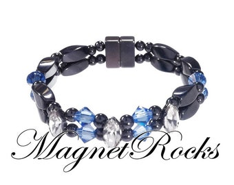 Enchanted Collection Magnetic Hematite Clear and Sapphire Crystal Bracelet