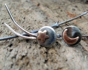 Sterling silver and copper shooting star ear climber with matching moon post earring