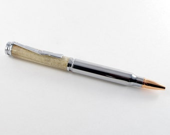 Handmade Ballpoint Pen - Bullet in Deer Antler and Chrome, Handcrafted Pen, Pen Gift, Pen, Handturned Pen