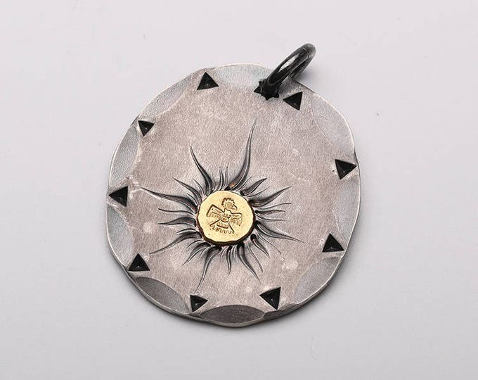 Silver Disk Pendant | Silver Gold Pendant | Solar Pendant |Hammered Silver Pendant |Thunderbird Charm |Tribal Style Pendant |Oxidized Silver