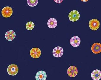 Folk Floral Dot (Navy) - Melodies - Sarah Campbell - Michael Miller Fabrics - 1 Yard