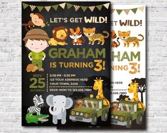 Safari Birthday Invitation, Jungle Invitation, Zoo Birthday Party, Wild Invitation, Personalized DIGITAL Invite, 2 Options
