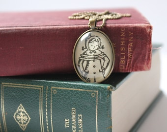 Betsy Tacy necklace - Maud Hart Lovelace - literary stocking stuffer - holiday jewelry - winter pendant necklace - book club gift -