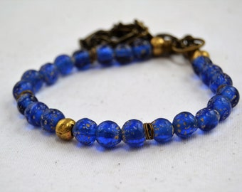 Cobalt Blue/Ancient Style/Java Glass Beads/Round Brass Ethiopian Beads/Handmade African Recycled Glass Beads/Adjustable Necklace