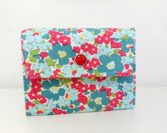 Small Womens Wallet, Flower Flap Wallet, Fabric Wallet with Pockets and ID Pocket