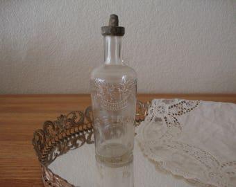 French Vintage ED PINAUD  PARIS Toilette Perfume glass Bottle - Metal Stopper - Medicine Bottle - eau de toilette - Parfum - Paris Apartment