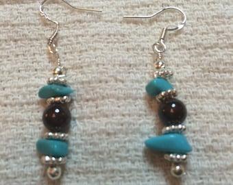 Garnet and tourquise earrings