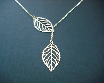 14k Gold Filled chain - leafy lariat