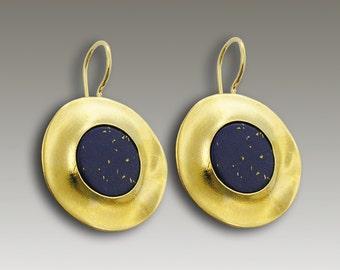 Solid gold earrings, lapis stone earrings, modern gold earrings, September birthstone earrings, yellow gold earrings- Starry Night EG0071