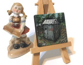 Shed 128 - miniature painting, small, mini painting, tiny painting, miniature oil painting, tiny oil painting, still life painting