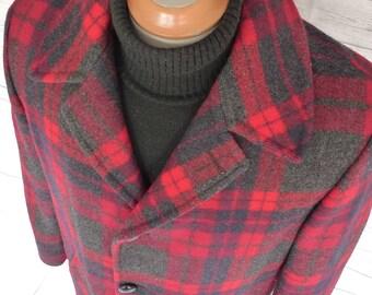 PENDLETON High Grade Western Wear Shadow PLAID WOOL Blanket Jacket Coat Vintage