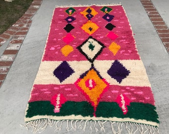 "FREE SHIPPING!!! ""RAQUEL"" Boho Chic Moroccan Azilal Rug in Multi Colors (Los Angeles)"