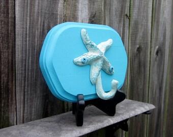 Starfish Hook, Wall Hook, Beach, Nautical,  Tropical Wall Hook, Turquoise, Painted Wood Base, Key Hanger, Coat Hanger, Towel Hanger