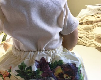 Retro Floral Organic Baby Pants. Caravan Pants with Bouquet of Pansy Flowers.  Available in sizes preemie to 6 years.