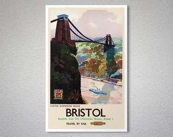 Bristol Clifton Suspension Bridge  Vintage Travel Poster - Poster Print, Sticker or Canvas Print / Gift Idea