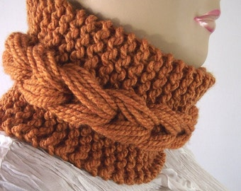 KNITTING PATTERN COWL Braid Bulky Cowl pdf pattern - Dinora Cowl - instant download Pattern with pictures easy to follow great for beginners