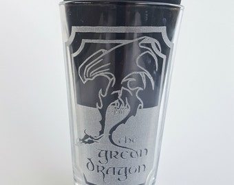 Etched LOTR Green  Dragon 16oz Pub Glass
