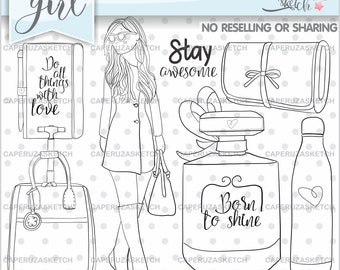 Girl Stamp, Girl Digistamp, Digital Stamp, Digital Image, COMMERCIAL USE, Coloring Page, Do all things with Love, Stay Awesome, Bag Stamps