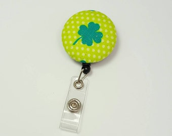 Retactable ID Badge Reel / ID Badge Holder / Name Badge Clip / Badge Pull / Button Badge Holder - Lucky Clover