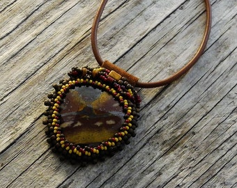 Beaded Cabochon Beaded Bale Necklace  - Bead Weaving - Statement Necklace - Tiger Eye Pendant - Leather Cord - BOHO