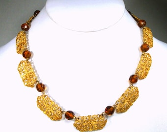 Victorian Filigree Gold Linked Necklace w Faceted Amber Glass Beads In Between, Timeless Elegance, Adjustable Length