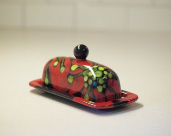 Butter Dish Pottery Butter Dish Red Poppy Ceramic Butter Dish with Lid Happy Kitchen Decor Hostess Gift Chef Gift for Mom Romy & Clare RP