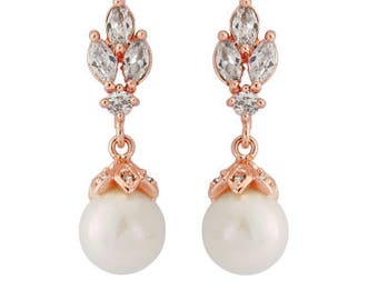 Rose Gold Classic Ivory Pearl Drop Earrings, bridal ear rings, prom earrings, bridal accessories, bridal jewellery