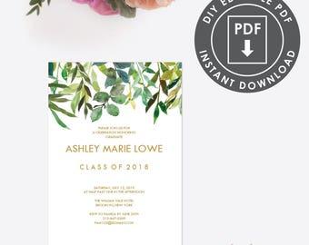 EDITABLE Graduation  PARTY INVITATION | Instant Download Graduation Party Invitation | Printable Invitation | Botanical Invite Editable 004