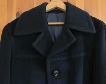 Vintage Wool Sailor Navy Coat Blue Warm Winter Medium Large
