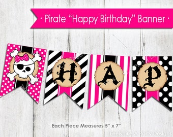 Pink Pirate Happy Birthday Banner - Instant Download