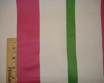 PINK White Green Heavy Cotton CANVAS STRIPE Upholstery Fabric, 34-29-13-0212