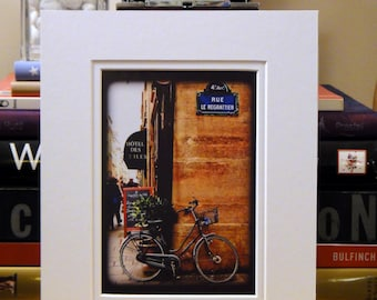 SALE--Paris, France: Bicycle at the Rue Le Regrattier (MATTED to fit 8x10 frame)