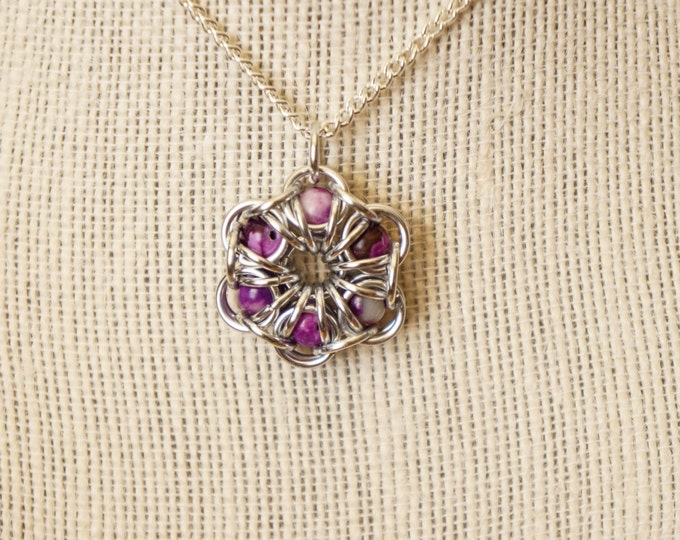 Featured listing image: Sugalite Maille Flower Pendant