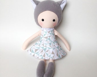 Handmade doll - Rag doll - Stuffed toy - plush doll - Cloth Doll - Fabric Doll - Softie - Plushie - Stuffed doll - with a cat hat.